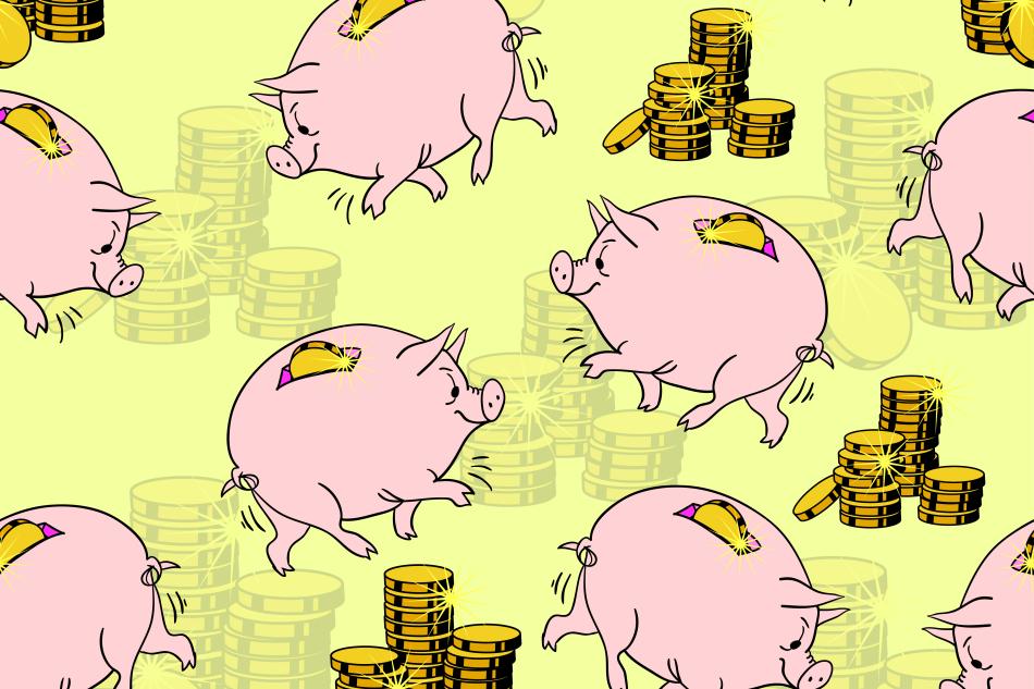 Pig piggy bank, gold coins.